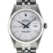 Rolex Mens Stainless Steel 36MM Slate Grey Index Datejust Wristwatch Polised Ser