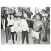 """Muhammad Ali Punching The Beatles"" Licensed Photograph of Heavyweight Champ Muh"