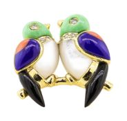 0.12 ctw Diamond and Multi-Colored Gemstone Lovebird Pin - 14KT Yellow Gold