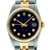 Rolex Mens 2 Tone Blue Vignette Diamond 36MM Datejust Wriswatch