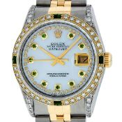 Rolex Mens 2 Tone Lugs MOP Emerald & Diamond 36MM Datejust