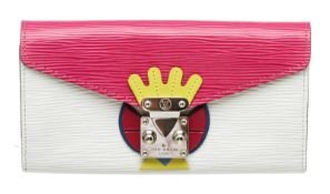 Louis Vuitton Pink Multicolor Epi Leather Tribal Mask Sarah Wallet