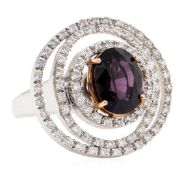 4.92 ctw Oval Mixed Lavender Spinel And Round Brilliant Cut Diamond Ring - 18KT