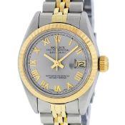 Rolex Ladies 2 Tone Yellow Gold & Stainless Steel Slate Grey Roman Datejust Wris