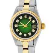 Rolex Ladies 2 Tone Green Vignette Diamond 26MM Datejust Wristwatch