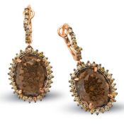 14k Rose Gold 14.45CTW Multicolor Dia and Smokey Quartz Earrings, (SI1-SI2/Gold)
