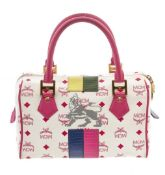 MCM Pink & White Visetos Coated Canvas & Leather Lion Boston Bag