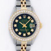 Rolex 2T YG/SS Green Vignette VS 1ctw Diamond Oyster Perpetual Datejust Wristwat