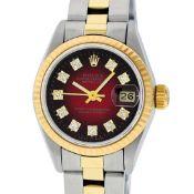 Rolex Ladies 2 Tone Red Vignette Diamond 26MM Datejust Wristwatch