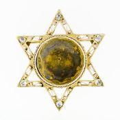 Antique 14k Gold .50ctw European Diamond Star of David Pin Brooch Locket Pendant