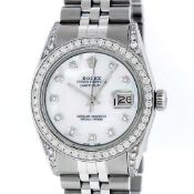 Rolex Mens Stainless Steel MOP Diamond Lugs 36MM Oyster Perpetual Datejust