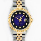 Rolex Mens 2 Tone Blue Vignette Diamond Datejust Oyster Perpetual Datejust 36MM