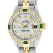 Rolex Ladies 2 Tone Silver Diamond & Emerald 26MM Oyster Perpetual Datejust
