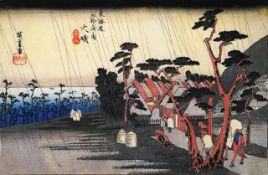 Hiroshige Rain on a Town by the Coast