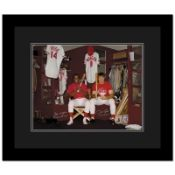 """""""Pete Rose & Morgan in Clubhouse"""" Framed Archival Photograph Autographed by Pete"""