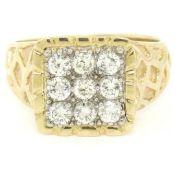Mens 14K Two Tone Gold Nugget Design .90 ctw Round BRILLIANT Diamond Cluster Rin