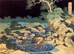 Hokusai - Fishing with Torches