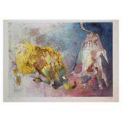 """Edwin Salomon, """"Confrontation"""" Hand Signed Limited Edition Serigraph with Letter"""