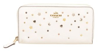 Coach White Studded Leather Zippy Wallet