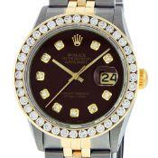 Rolex Mens 2 Tone Maroon VS 3ctw Channel Set Diamond Datejust Wristwatch