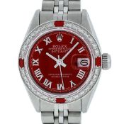 Rolex Ladies Stainless Steel Red Diamond & Ruby 26MM Oyster Perpetual Datejust