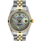 Rolex Mens 2 Tone MOP Emerald String Diamond Datejust Wristwatch