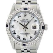 Rolex Mens Stainless Steel MOP Roman 36MM Diamond & Sapphire Datejust Wristwatch