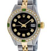 Rolex Ladies 2 Tone Black Diamond & Emerald 26mm Oyster Datejust Wristwatch