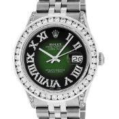 Rolex Mens Stainless Steel 3ctw Green Vignette Roman Diamond Datejust Wristwatch
