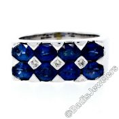 18kt White Gold 4.03ctw Dual Row Oval Cut Sapphire & Diamond Band Ring