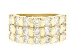 14kt Yellow Gold 2.52ctw Wide 3 Row Large Round Diamond Band Ring