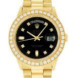 Rolex Mens 18K Yellow Gold Black Diamond 2.5ctw Quickset President Wristwatch Wi