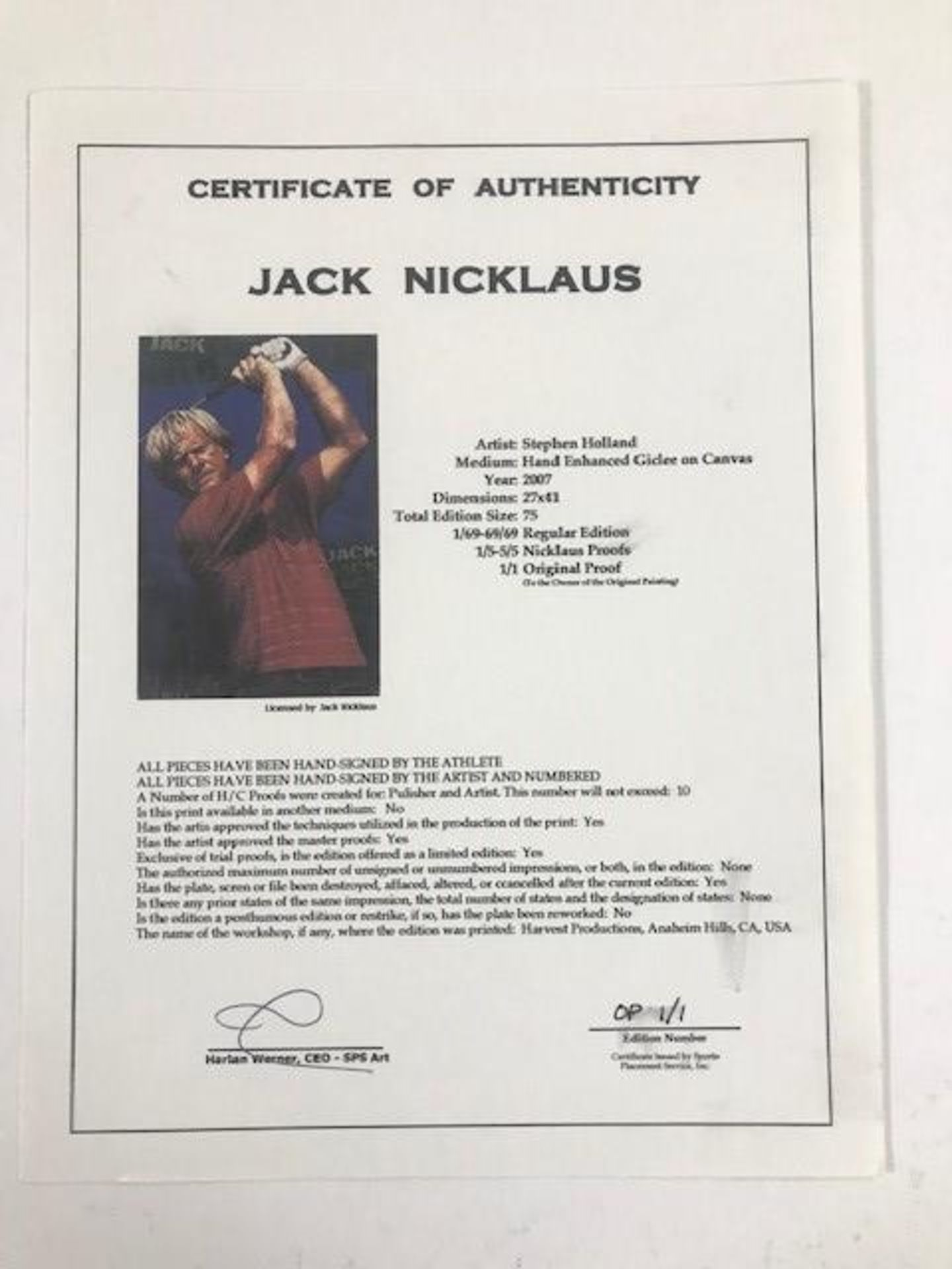 """""""Jack Nicklaus"""" by Stephen Holland - Image 3 of 4"""