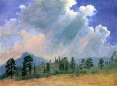 Fir Trees and Storm CLouds by Albert Bierstadt