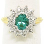 18k Yellow Gold 1.83ctw Oval Colombian Emerald Solitaire Dual Diamond Halo Ring