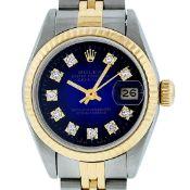 Rolex Ladies 2 Tone Blue Vignette Diamond 26MM Oyster Perpetual Datejust Wristwa