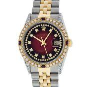Rolex Mens 2 Tone Lugs Red Vignette Diamond String & Ruby Datejust Wristwatch