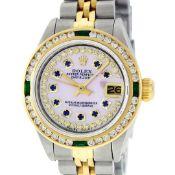 Rolex Ladies 2 Tone MOP Sapphire & Diamond, Emerald Datejust Wristwatch 26MM