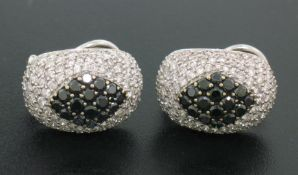 18k Solid White Gold 3.60 ctw White & Black Diamond Drenched Dome Button Earring