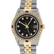 Rolex Mens 2 Tone Black String Diamond Lugs & Ruby Oyster Perpetual Datejust 36M