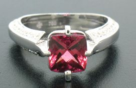 18k White Gold Cushion Rubellite Tourmaline Ring w/ 0.79ctw Pave Fine Diamonds