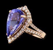 8.62 ctw Tanzanite and Diamond Ring - 14KT Rose Gold