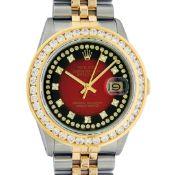 Rolex Mens 2 Tone Red Vignette String VS 3ctw Channel Set Diamond Datejust Wrist