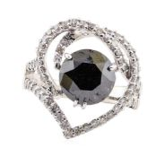 3.33ct Black Diamond and Diamond Ring - 18KT White Gold