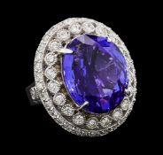 GIA Cert 19.95 ctw Tanzanite and Diamond Ring - 14KT White Gold