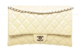 Chanel White Patent Flap Shoulder Bag