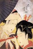 Hokusai - Young Woman Looking Through a Telescope