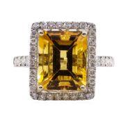 6.25ct Citrine and Diamond Ring - 14KT White Gold