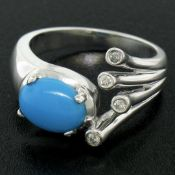 14kt White Gold 1.23ctw Cabochon Turquoise and Diamond Cocktail Ring