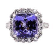 9.18ct Tanzanite and Diamond Ring - Platinum